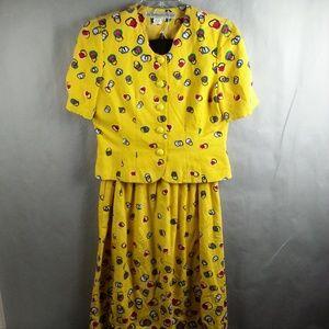2pc Vintage Anne Crimmins UMI Skirt Dress Top Shir